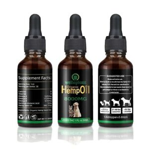 Hemp Oil For Cats&Dogs 8000MG , Anxiety , Joint Support, Healthy Coat , 30ml