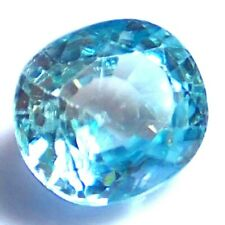 3.06 Cts NATURAL Blue ZIRCON 8 x 7.1 mm Oval Cut TOP LUSTRE Loose Gemstones