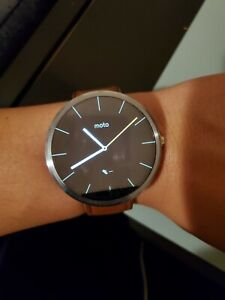 Motorola Moto 360 46mm Metal Case Brown Leather Band