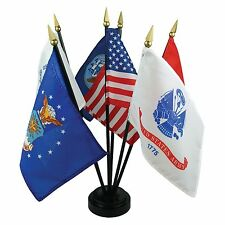 "ARMED FORCES SET WITH USA FLAG AND BASE 4X6"" TABLE TOP SET DESK SET NEW"