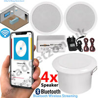 4x Wireless Bluetooth Ceiling Speakers and Amplifier System Bathroom or Kitchen