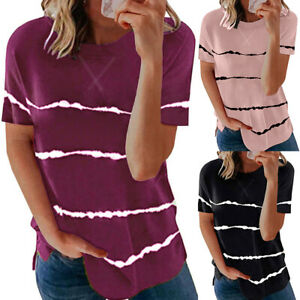 Womens Short Sleeve Tie Dye Striped Tunic Tops Summer Casual T Shirt Tee Blouse