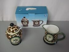 NIB Kitchen Creations Safari Ceramic Sugar & Cream Set #142Z