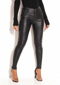 Women Faux Leather High Waisted PU Skinny Jeans Trousers Party Leggings Black