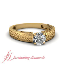 1/2 Ct Round Diamond Engraved Leaf Design Solitaire Yellow Gold Engagement Ring