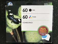 HP 60 Black Tri-Color Combo Pack With Paper & Envelope Brand New Expires 09/2015