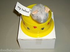 New My Twinn Poseable Pets Cat Food Bowl Plush Rat Kitten Dish & Mouse Set Sz L