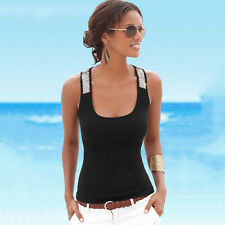 Womens Sleeveless Sequin Vest Tops Summer Ladies Casual Blouse T Shirt Tee 4-12