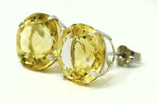 GENUINE 11.62 Cts YELLOW TOPAZ STUD EARRINGS 14k GOLD * Free Appraisal Service
