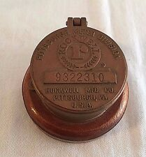 Vintage Meter #9322310 Rockwell Pittsburgh Pa Cover Brass Bronze Usa Box