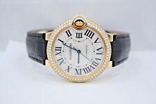 CARTIER BALLON BLEU 18K YELLOW GOLD 36M FACTORY DIAMOND ENCRUSTED WATCH WE900451