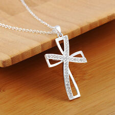 Lady Stylish Silver Plated Cross Pendant Chain Party Necklace Decoration Ornate