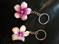 2x Hawiian Flower - Keyrings Keychain Bag Charms - Pink & Orange