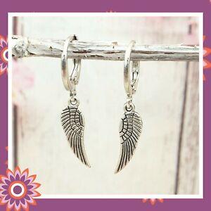 Silver Angel Wing Earrings Hoop Tibetan Guardian Spiritual Pretty Gift Present