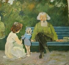 Russian Ukrainian Soviet Oil Painting impressionism mam grandfather girl skech