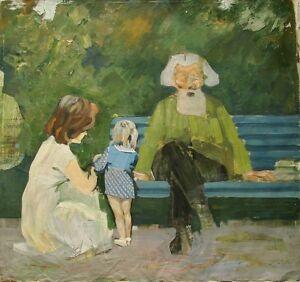 Russian Ukrainian Soviet Oil Painting impressionism mam grandfather girl skech