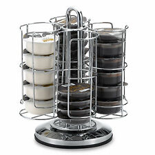 Tassimo Coffee Tea Cappuccino Pod CHROME CADDY Silver Carousel Revolving Rack!