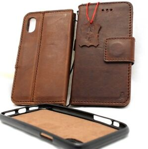 Genuine leather Case for apple iphone X wallet handmade cover magnetic rubber xs