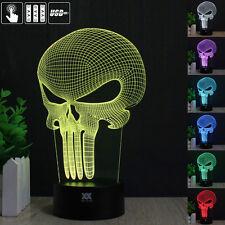 Punisher Skull Totenkopf Schädel 3D LED 7 Farbe Tischlampe Leselampe Nachtlicht