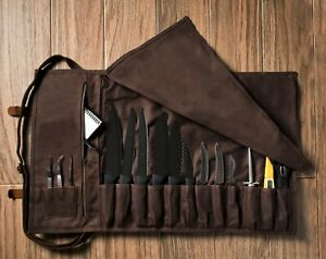 ExecuChef 15 Slot Waxed Canvas Knife Roll - Leather and Brass Buckles - Brown