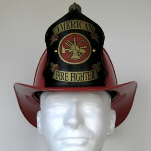 """Traditional """"American Firefighter"""" Texaco Style Helmet - Red"""