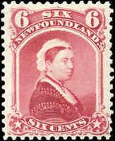 Mint H Canada Newfoundland 1894 F-VF 6c Scott #36 Queen Victoria Stamp