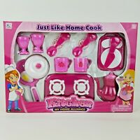 Girls Pink Pretend Play Kitchen Cooking Set Stove Pan Dishes Tea Coffee Pot 3+