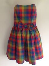 Jack Wills Strapless Red Multi Check Party Holiday Dress Size 8 Bow Front Cotton