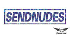 "SENDNUDES 7"" Sticker Blue Glitter Oil Slick Holographic Exclusive Decal Vinyl"