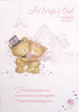 "Glittered Church With Wedding Bears ""A  WEDDING WISH "" Card"
