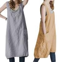 Womens Square Neck Pinafore Midi Sleeveless Dress Loose Pocket Sundress Oversize