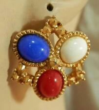 Pretty Vintage 1970's Red White And Blue Thermoset Sarah Cov Clip Earrings 336D5