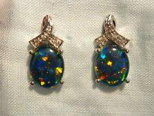 Opal Earrings 14ct White Gold & Diamond Stud.Triplet Opals 10 x 8mm Oval. #60467