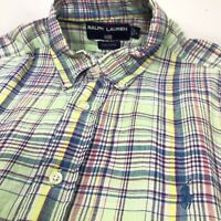 Ralph Lauren Sport Mens Shirt Green Plaid Short Sleeve Cotton Large