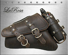 LaRosa Rustic Brown Leather Harley Sportster Zipper Open Left Saddlebag + Bottle