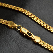 "18k Yellow Solid Gold Filled Chain Necklace 20"" 5mm Thick Men's Women's"