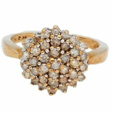 9Carat Yellow Gold 1.00ct Champagne Diamond Cluster Ring (Size P) 13mm Diameter