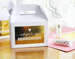 8 White And Gold Foil Will You Be My... Bridal Party Bridal Shower Favor Boxes