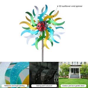 Iron Art Craft 3D Sunflower Spinner Reflective Painting Rustless Windmill T1N5