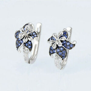 Stud for Women Pretty 925 Silver Earrings Blue Sapphire Earrings A Pair/set