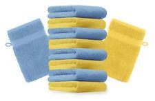 Betz lot de 10 gants de toilette Premium: jaune & bleu clair, 16 x 21 cm, coton