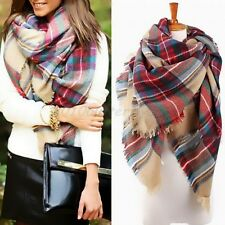 Women Fashion Blanket Tartan Wool Warm Scarf Shawl Plaid Cozy Checked Pashmina