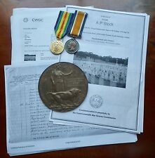 WWI MEDAL PAIR WITH DEATH PLAQUE - CASUALTY - 26TH BATTALION ROYAL FUSILIERS