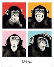 Poster Schimpanse - Pop Art Andy Warhol Stil - 40 x 50 cm