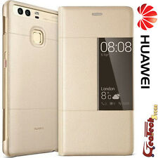 Custodia Originale Huawei Per P9 PLUS Smart Cover View Con Finestra Pelle Gold
