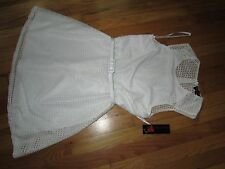 Women's Glam Doll White Dress W/Belt Size L NWT Very Cute
