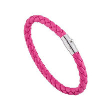 Mens Genuine Leather Braided Bracelet Wristband Colours Magnetic Clasp 6mm Rose Red