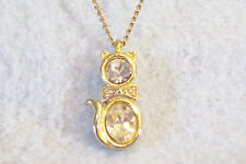 CZ Kitty CAT PENDANT Cubic Zirconia Necklace Gold Plated Figural SPARKLE Signed
