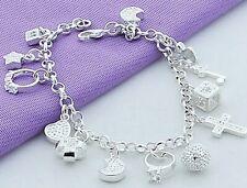 On Trend Sterling Silver 925 Love Heart Ring Moon Star Charm Bracelet Bangle