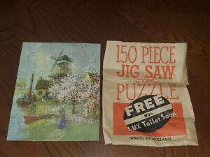 Vintage LUX TOILET SOAP JigSaw Puzzle Spring Holland 1930s COMPLETE Advertising